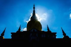 Silhouette Buddha's relics in Thailand, Name is phra tard na dun Royalty Free Stock Image
