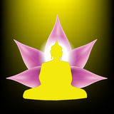 Silhouette of Buddha sitting with lotus petals flower Stock Photos