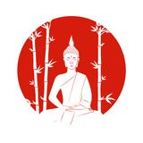 Silhouette of buddha sitting in lotus pose on a red background with bamboo stock illustration