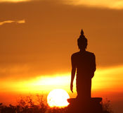 Silhouette of buddha statue. In Bangkok, Thailand royalty free stock images