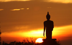 Silhouette of buddha statue Royalty Free Stock Images