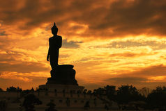 Silhouette of  buddha statue. In thailand Royalty Free Stock Images