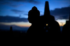 Silhouette of Buddha Stock Image