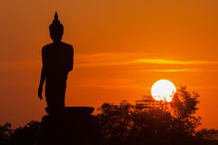 Silhouette  of Buddha Statue in the Phutthamonthon district, Thai. Silhouette of Buddha Statue in the Phutthamonthon district, Thailand Stock Photo