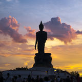 Silhouette buddha statue Royalty Free Stock Images