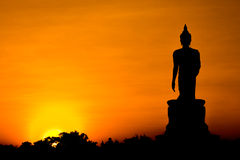 Silhouette of Buddha statue Royalty Free Stock Image