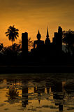 Silhouette of buddha staue Royalty Free Stock Photography