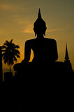 Silhouette of buddha staue Royalty Free Stock Photo