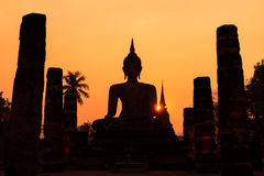 Silhouette of buddha in Sukhothai historical park, Sukhothai, Th Royalty Free Stock Images