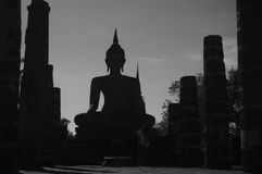 Silhouette Buddha. In Thailand with black and white Royalty Free Stock Photography