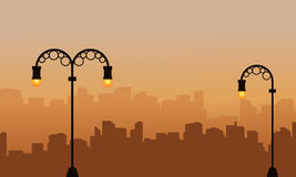 Silhouette of building background with street lamp scenery. Illustration royalty free illustration