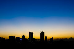 Silhouette building in Bangkok at sunset.  Royalty Free Stock Photography