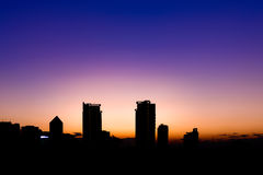 Silhouette building in Bangkok at sunset.  Stock Photography