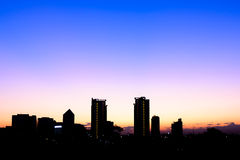 Silhouette building in Bangkok at sunset.  Stock Photo