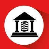 Silhouette building bank icon orange background. Illustration eps 10 Royalty Free Stock Photography