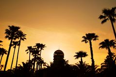 Silhouette of building with coconut trees Royalty Free Stock Photos