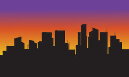 Silhouette of building coloful Royalty Free Stock Photos