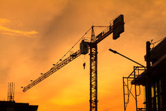 Silhouette of building construction  on evening Royalty Free Stock Photo