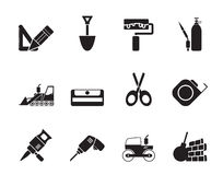Silhouette building and construction icons royalty free illustration