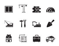 Silhouette building and construction icons Royalty Free Stock Images