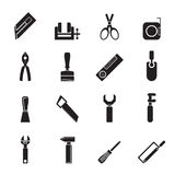 Silhouette Building and Construction Tools icons royalty free illustration