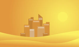 Silhouette of building and desert landscape Stock Photo