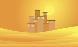 Silhouette of building on the desert Royalty Free Stock Photo