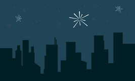 Silhouette of building with firework landscape. Vector art Royalty Free Stock Photo