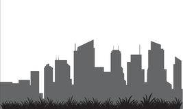 Silhouette of building and lawn Royalty Free Stock Image