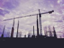 Silhouette building construction site scene stock image