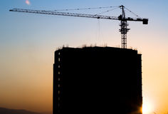 Silhouette of building site Stock Photos