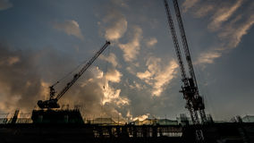 Silhouette of a building under Construction Stock Image