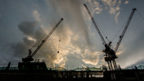 Silhouette of a building under Construction Stock Photo