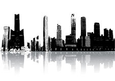 Silhouette buildings. Skyscrapers silhouette with reflection against white (vector, illustration Stock Photos