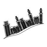 Silhouette buildings and cityscape side scene icon. Illustration stock illustration