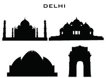 Silhouette buildings delhi Stock Photo