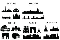 Silhouette buildings Royalty Free Stock Images