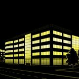 Silhouette of buildings and streets at night Stock Photos