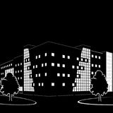 Silhouette of buildings and streets at night Royalty Free Stock Image