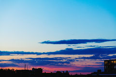 Silhouette of Buildings during Sunset Royalty Free Stock Photography