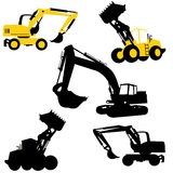 Silhouette. Bulldozers and excavators Stock Photography