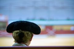 Silhouette of a bullfighter's head wearing the traditional hat or  Royalty Free Stock Images