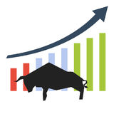 Silhouette of bullish symbol. Bullish symbol. Stock market trends. The growing market Royalty Free Stock Photo