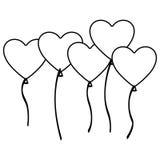 Silhouette bunch romantic balloons decorative design Royalty Free Stock Photos