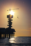 Silhouette of a bungee-jumper in the sunset. Stock Photos