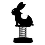 silhouette bunny cart for carousel icon Stock Photo