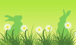 Silhouette of bunny and flower landscape. Vector art Royalty Free Stock Images