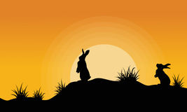 Silhouette of bunny on the hill at sunset Royalty Free Stock Images