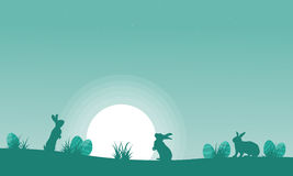Silhouette of bunny with moon landscape Royalty Free Stock Image