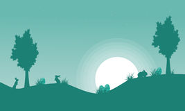Silhouette of bunny and moon landscape Royalty Free Stock Photography